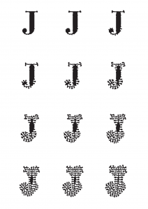 "This depiction of the stages of the ""Evolving J"" goes from a regular letter J to a completely morphed J."