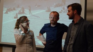 Esther and Ivar speak with David Clayton, Director of STEAM Initiatives at the Science Center.