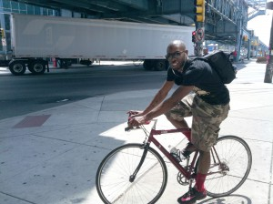 Akh is off, on his bike ride through his old neighborhood.